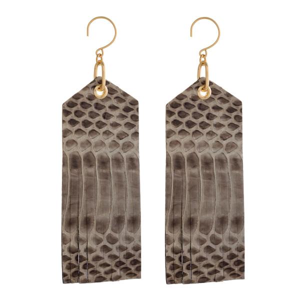 Wholesale long gold fishhook earrings faux snakeskin pattern