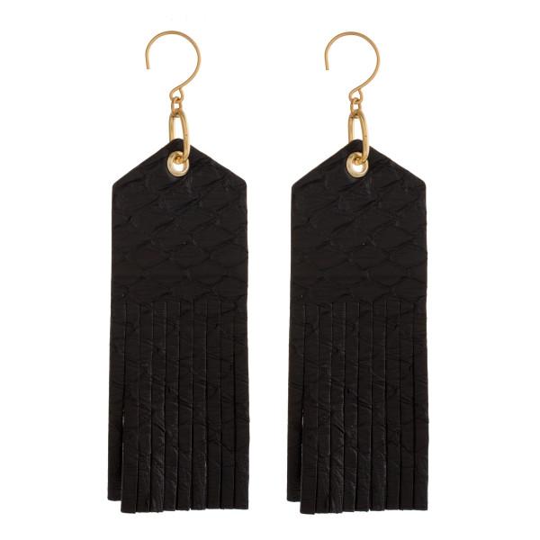 Wholesale gold fishhook earring long faux snakeskin