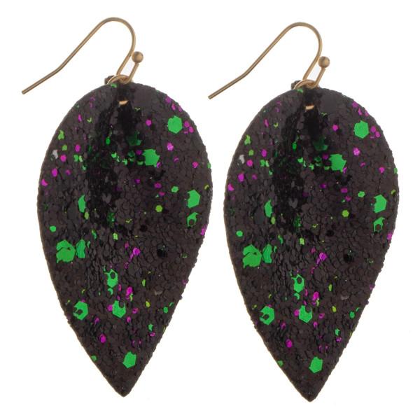 Wholesale long drop earrings multi color glitter details Approximate