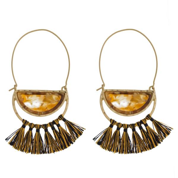 Wholesale gold fishhook earring acetate tassel detail