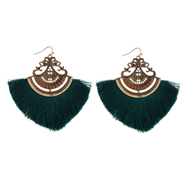 Wholesale gold fishhook earring fanned tassel