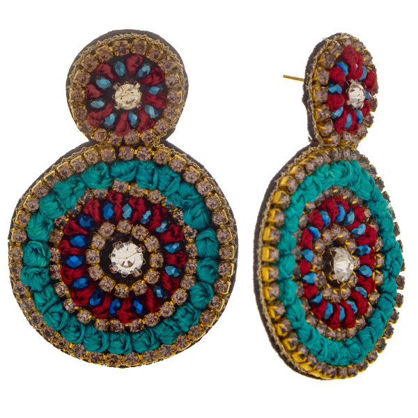 Wholesale short circular earring rhinestone rope detail Approximate