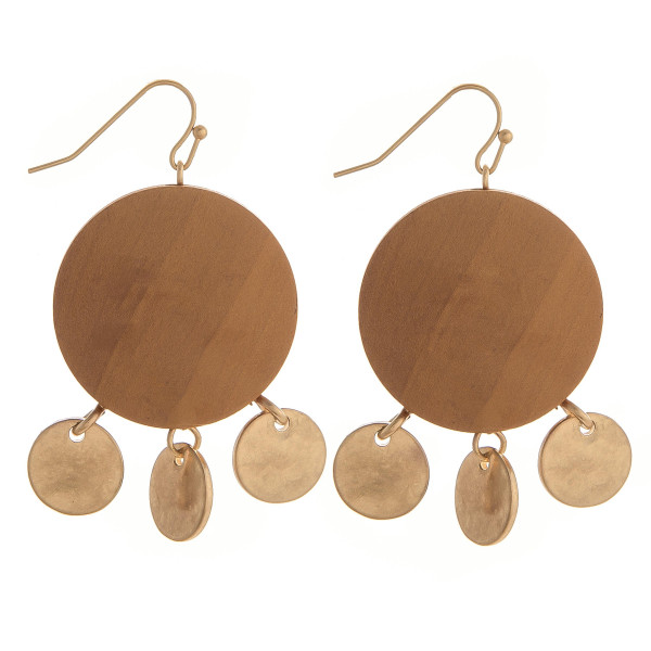 Wholesale enjoy gorgeous fishhook wood earrings gold metal charms Approximate di
