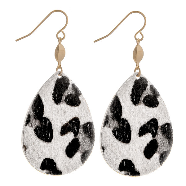 Wholesale gorgeous fishhook animal print teardrop earrings Approximate