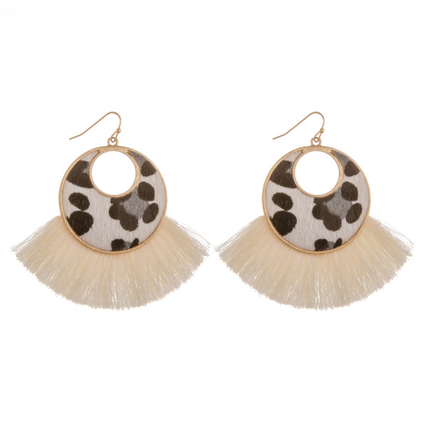Wholesale long solid hoop earrings animal print detail tassel Approximate