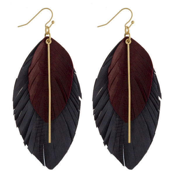 Wholesale gorgeous genuine leather double drop earring gold pole detail Approxim