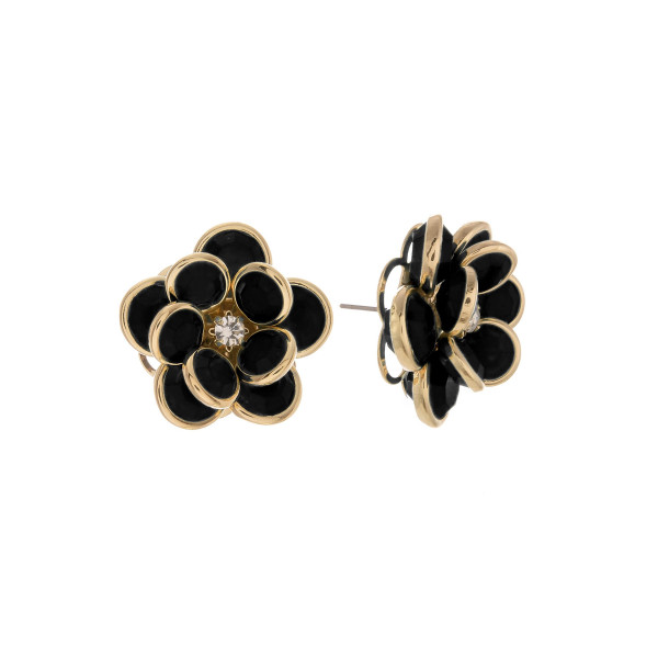 Wholesale short stud flower earring rhinestone Approximate