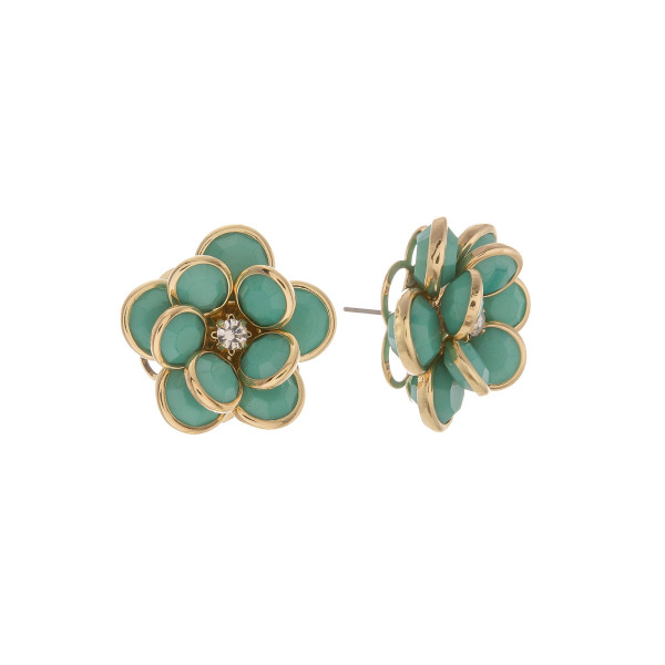 Wholesale short stud flower earring rhinestone Approximate