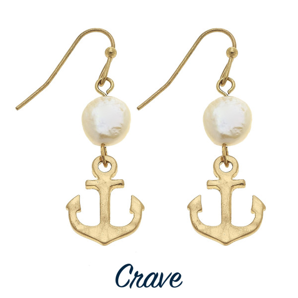 Wholesale dainty anchor freshwater pearl drop earrings tall