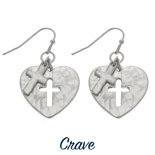 Wholesale heart earrings cross cutout charm tall
