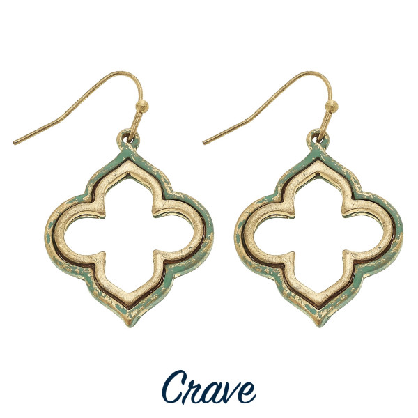Wholesale nested quatrefoil patina finish earrings tall