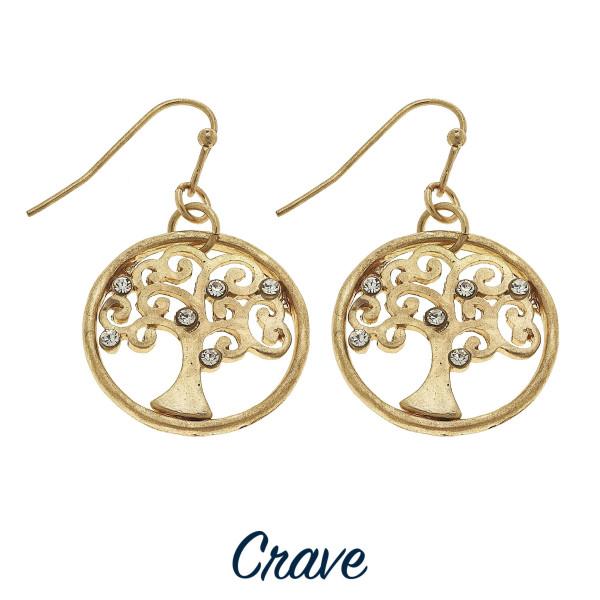 Wholesale dainty round Tree Life drop earrings rhinestone details diameter