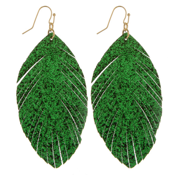 Wholesale gorgeous leather feather glitter earrings Approximate