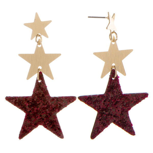 Wholesale long metal leather earrings three stars sequins