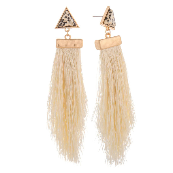 Wholesale long tassel earring triangle stud detail Approximate