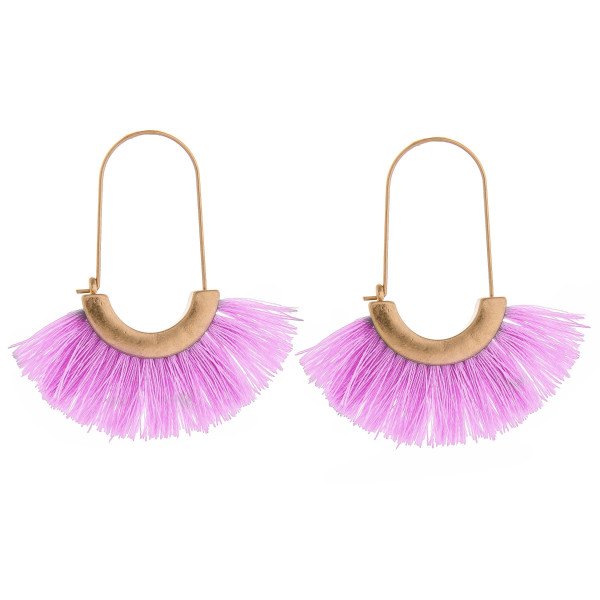 Wholesale long tassel earring gold trim detail Approximate