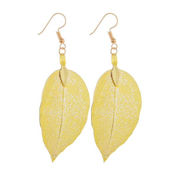 Wholesale long see through metal leaf earring Approximate