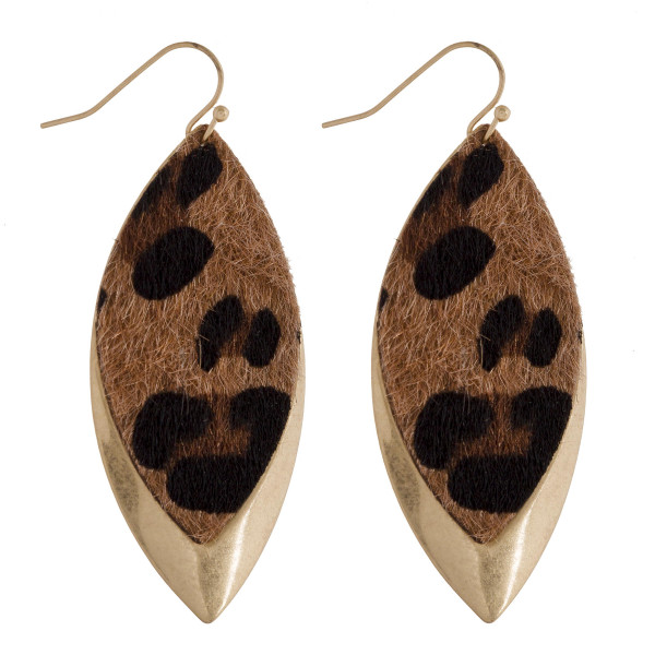 Wholesale long metal leaf earring animal print detail Approximate