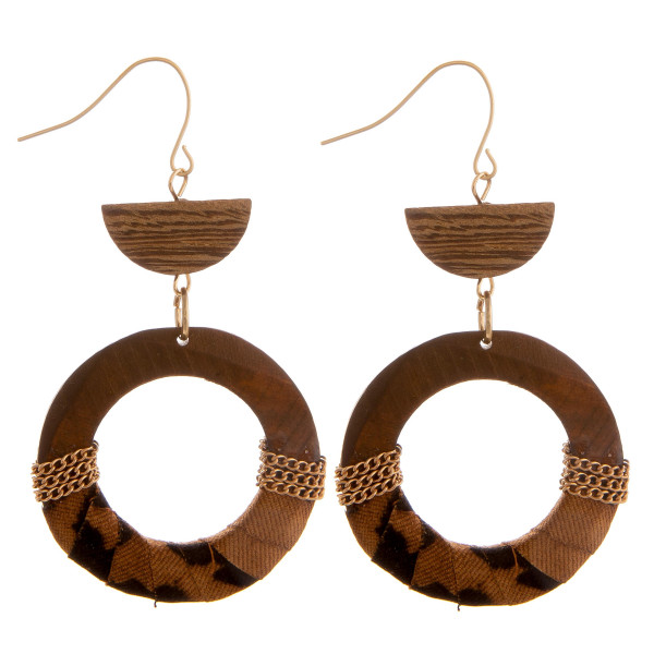 Wholesale long wooden hoop earrings animal print fabric centered details Approxi