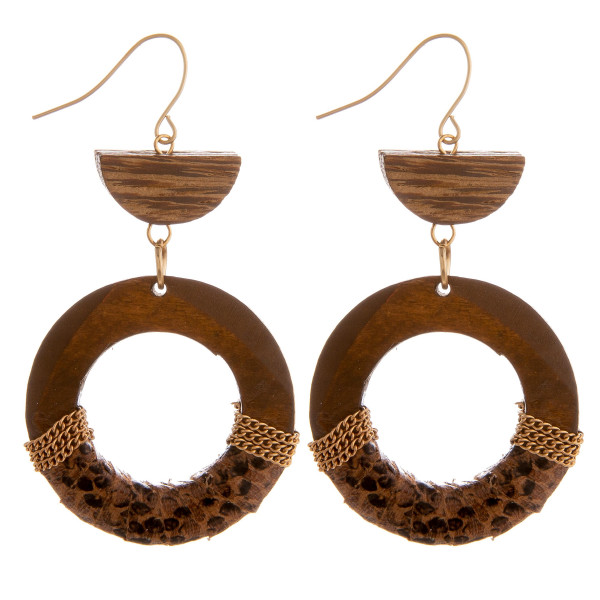 Wholesale long wooden hoop earrings snake skin centered details Approximate