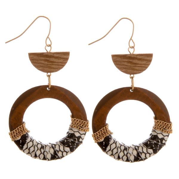 Wholesale long wooden hoop earrings snake skin centered details Approximate