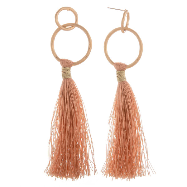 Wholesale long tassel earring hoop post Approximate