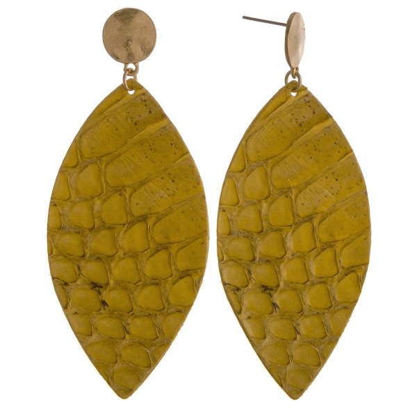 Wholesale long oval earrings snakeskin print
