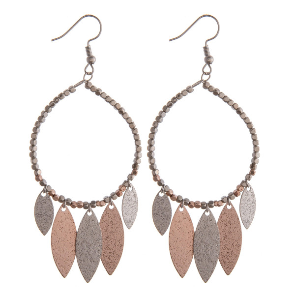 Wholesale two circular earrings beaded details hanging accents