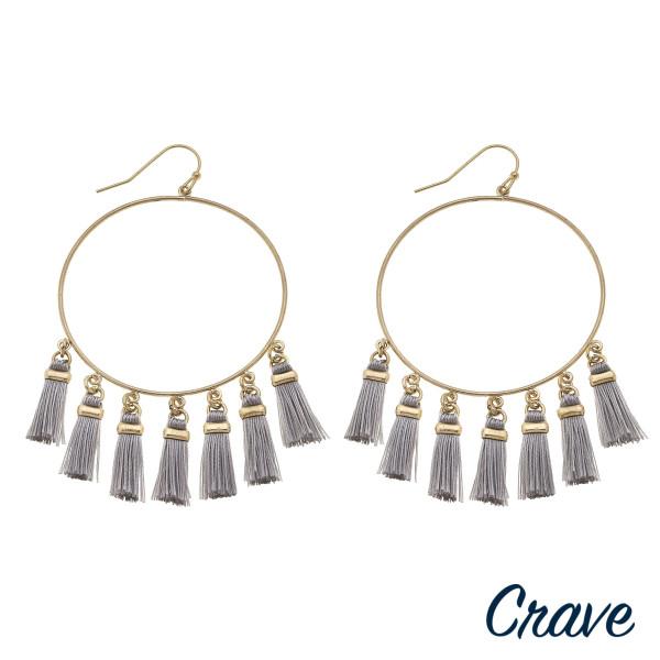 Wholesale circular drop earrings fanned tassel details gold metal accents diamet