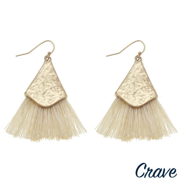 Wholesale long drop earrings fanned tassel details gold metal accents