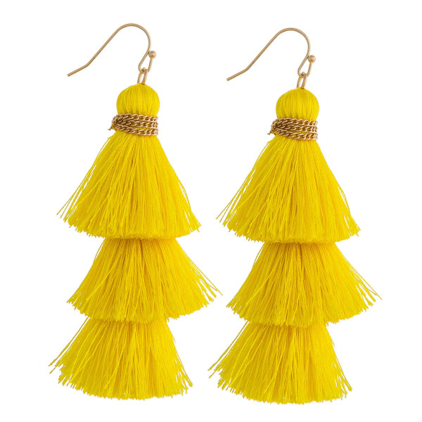 Wholesale thread fan tassel earrings chain link wrapped details