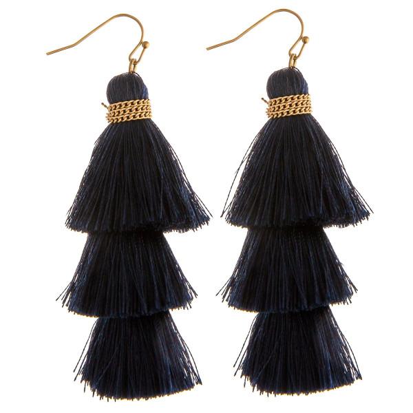Wholesale thread fan tassel earrings chain link wrapped details