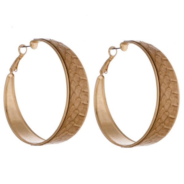 Wholesale large hoop earrings genuine leather snakeskin details diameter