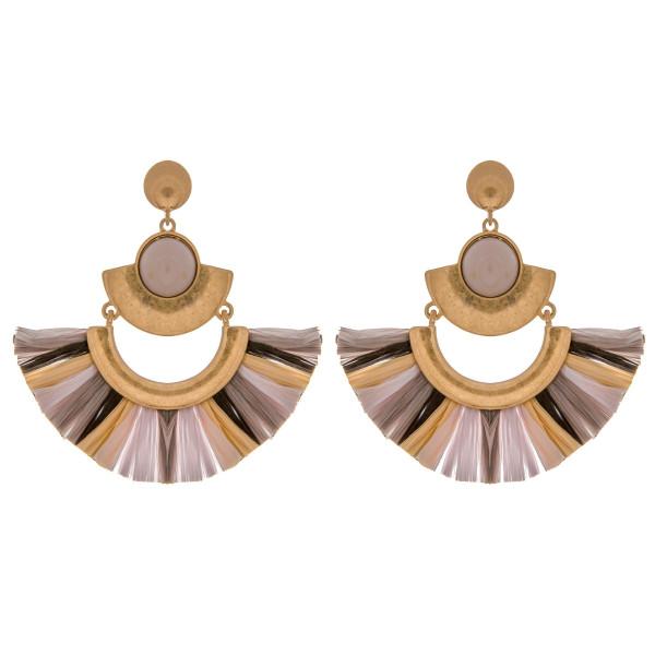 Wholesale metal drop earrings raffia tassel details enamel inspired stone accent