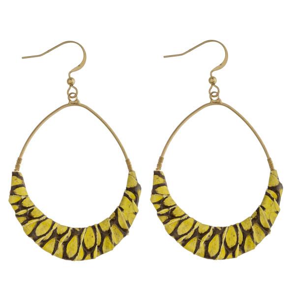 Wholesale teardrop earrings faux leather snakeskin wrapped details