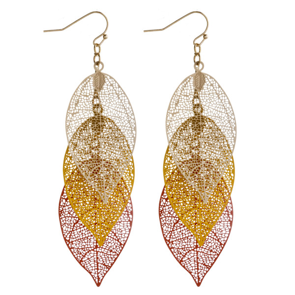 Wholesale leaf filigree drop earrings