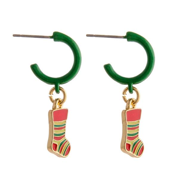 Wholesale enamel hoop earring stocking accent