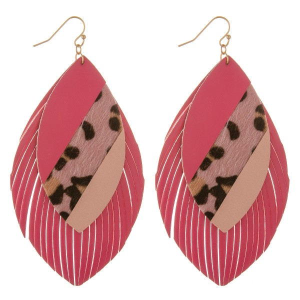 Wholesale faux leather leopard print color block fringe tassel statement earring