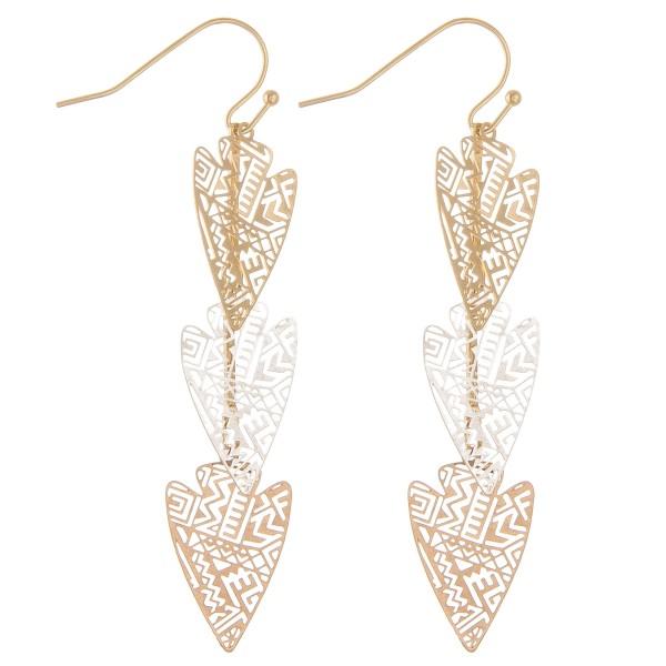 Wholesale filigree arrow dangle earrings L