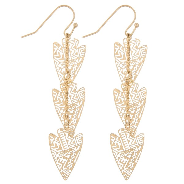 Wholesale filigree arrow dangle earrings L