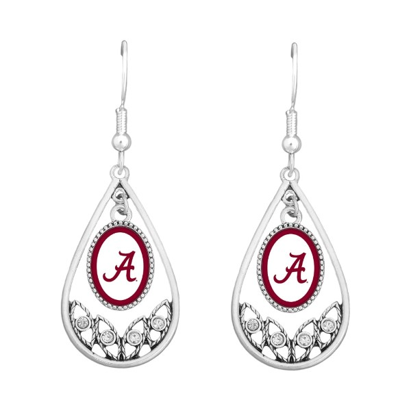Wholesale university Alabama polished silver tear drop earrings Officially licen