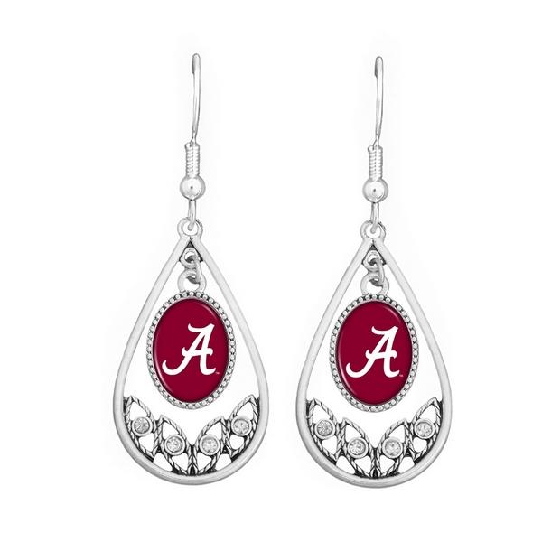 Wholesale polished Silver Tear Drop Earrings CZs University Alabama Logo Texture