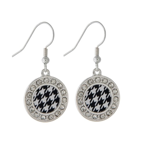 Wholesale simple inch round silver toned earrings houndstooth print center cryst