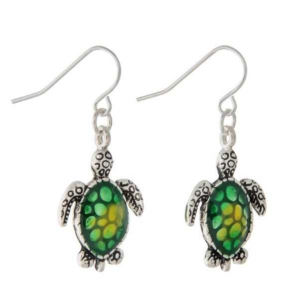 Wholesale silver fishhook earrings small turtle green ombre shell