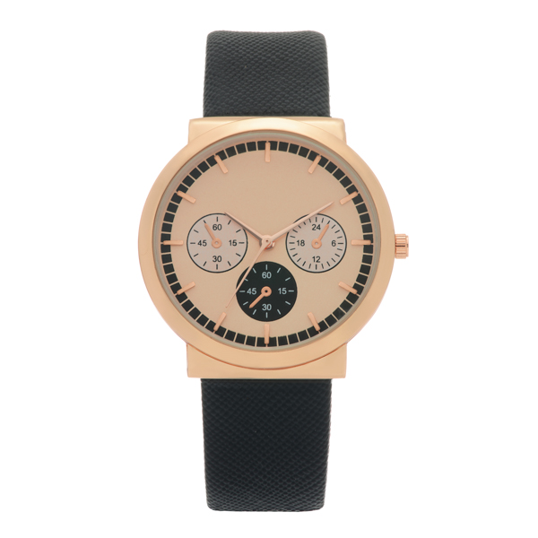 Wholesale black faux leather band watch rose gold