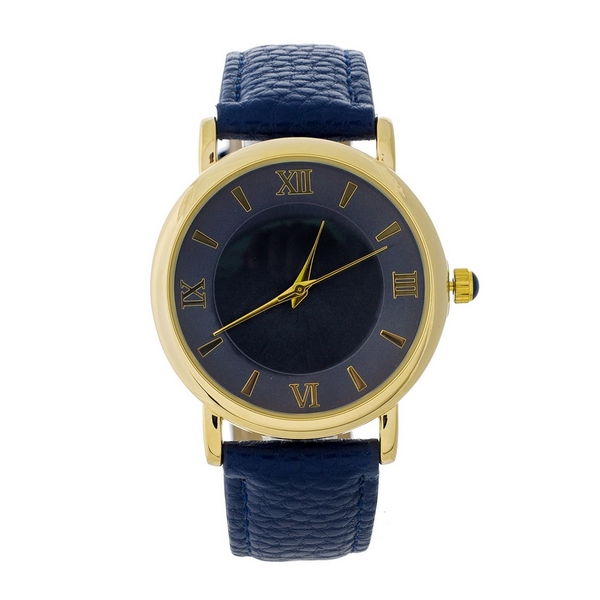 Wholesale navy blue genuine leather watch navy blue Roman numeral numbers