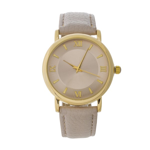 Wholesale beige genuine leather watch beige Roman numeral numbers