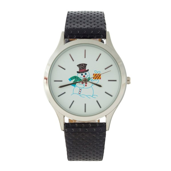 Wholesale perforated faux leather Christmas themed watch