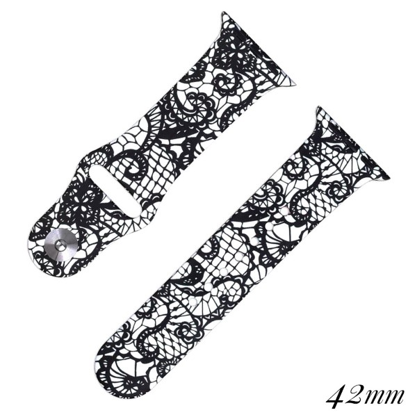 Wholesale lace print silicone watch band smart watches Fits mm smart watch