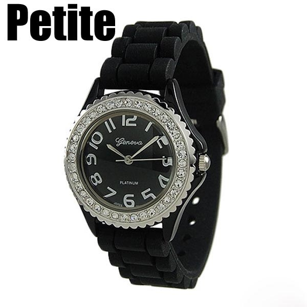 Wholesale petite black silicone watch crystal rhinestones surrounding Stainless